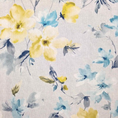 Curtain with flowers in yellow and turquoise on grey background