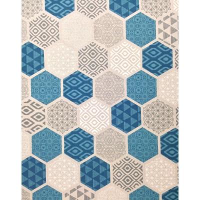 Плат за плътна завеса с геометрични форми в синьо