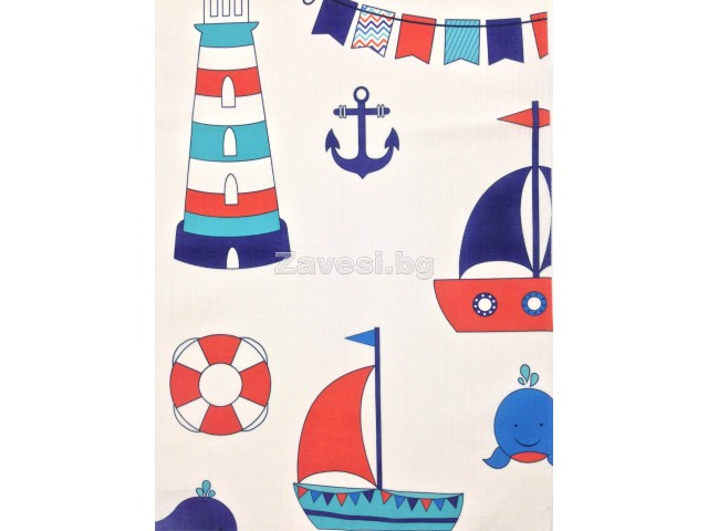 Плат за плътна детска завеса на корабчета