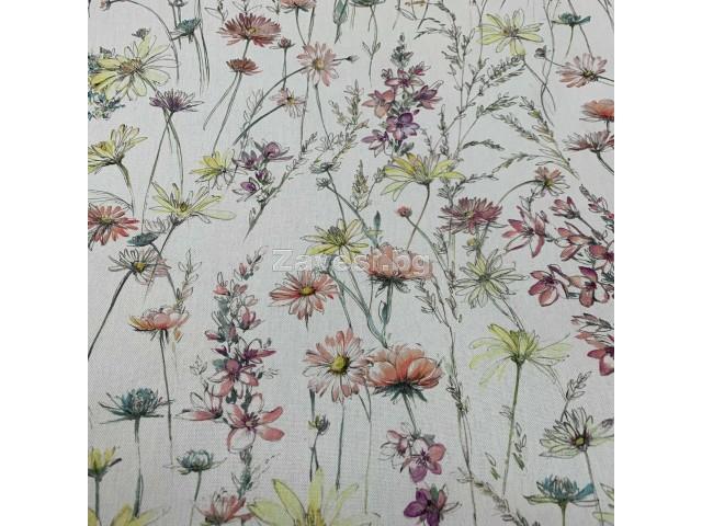 Плат за плътна завеса с флорален десен