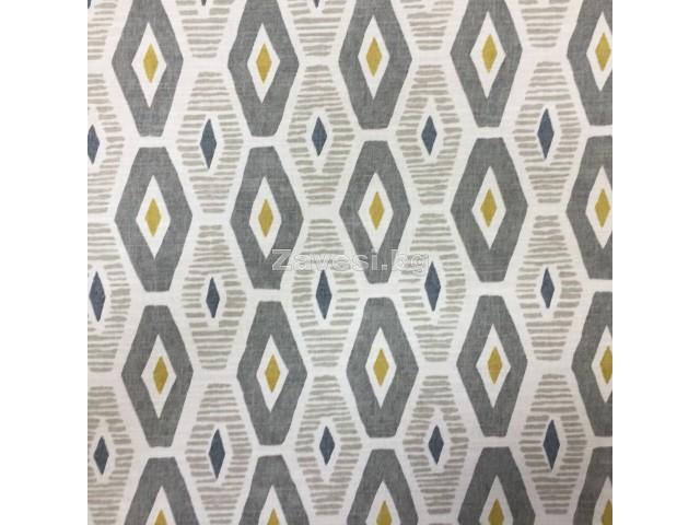 Плат за плътна завеса с ромбоидни форми в сиво