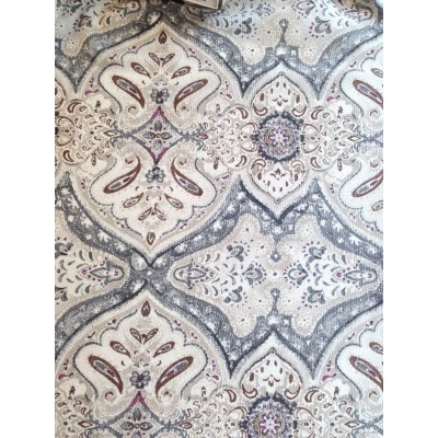 Curtain with ornaments in grey, beige and brown