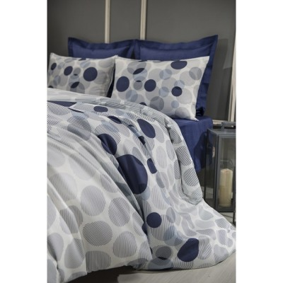 Двоен спален комплект ранфорс на кръгове в тъмно синьо