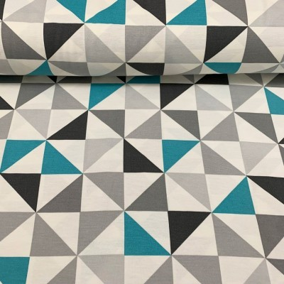 Дамаска с геометрични форми в синьо и сиво