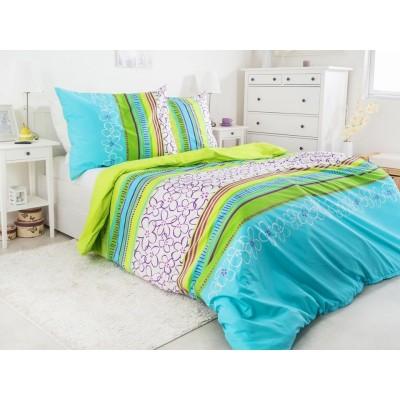 Единичен спален комплект ранфорс в синьо и зелено с цветя