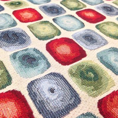 Жакардов плат за плътна завеса и дамаска с цветни квадрати