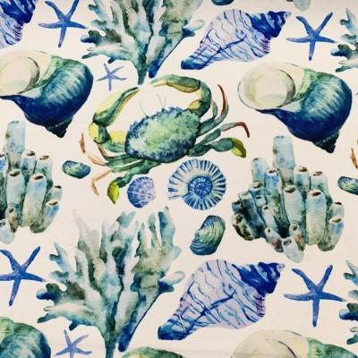 Curtain and upholstery with digital print Seabed