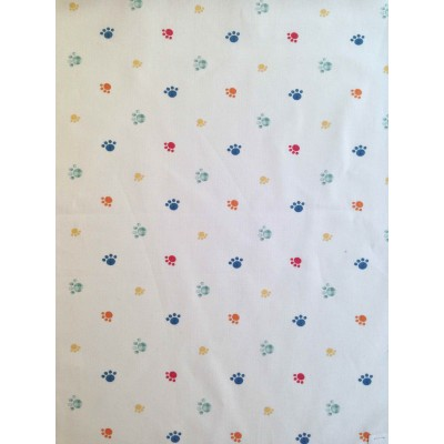 Curtain for children with colorful paws on white background