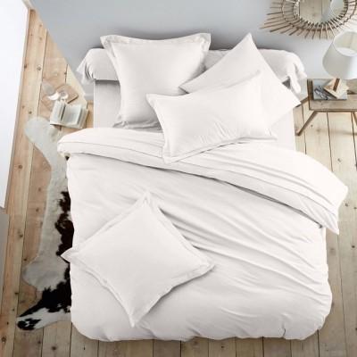 Едноцветен двоен спален комплект ранфорс в бяло