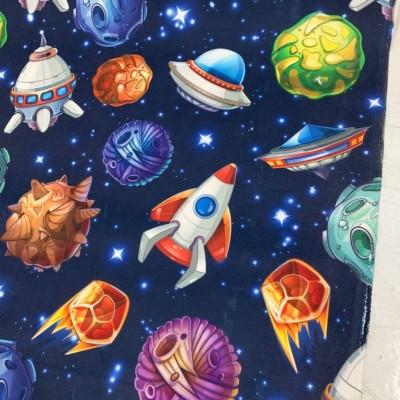 Плат за плътна детска завеса с десен Космос