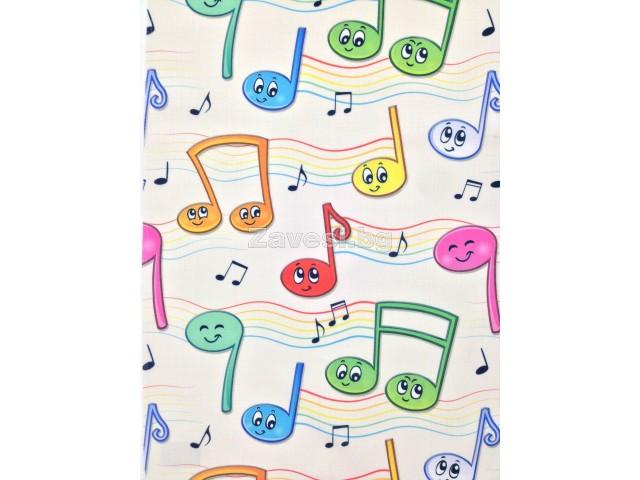 Плат за плътна детска завеса на шарени ноти