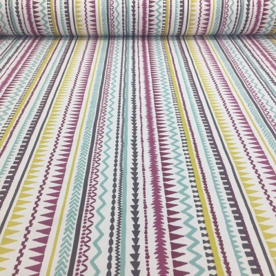 Curtain with print Stripe in purple, yellow and blue
