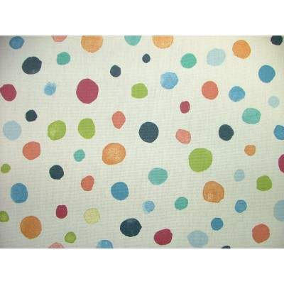 Curtain with colorful dots on white background