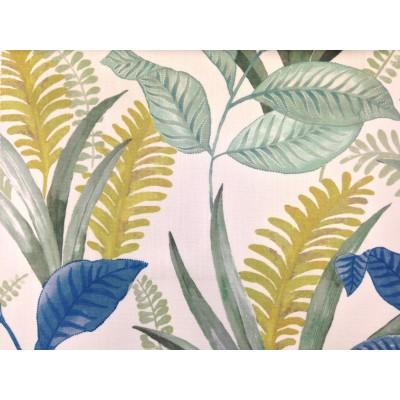 Плат за плътна завеса и дамаска с листа в зелено, жълто и синьо
