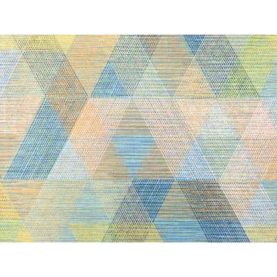 Плюшен геометричен десен в зелено и синьо за плътна завеса и дамаска