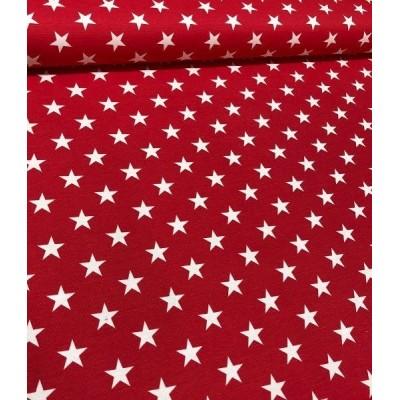 Плат за плътна завеса и дамаска с бели звезди на червен фон