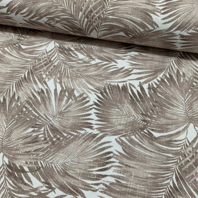 Curtain and upholstery with palm leaves in brown