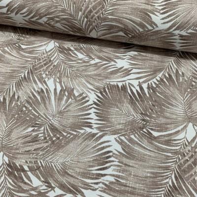 Плат за плътна завеса и дамаска с палмови листа в кафяво