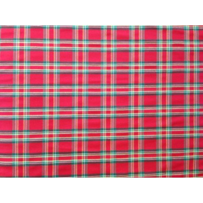 Коледен плат за покривки каре в червено и зелено