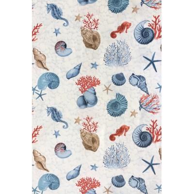 Плат за плътна завеса с морски десен рапани и корали