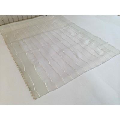 Негорим плат за тънко перде на райе в бяло