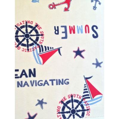 Плат за плътна детска завеса с морски мотиви на бял фон