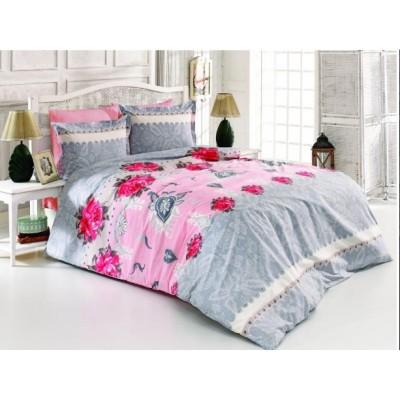 Двоен спален комплект с два плика ранфорс в сиво с розови цветя