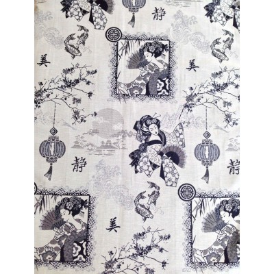 Curtain and upholstery with japan motifs Kioto
