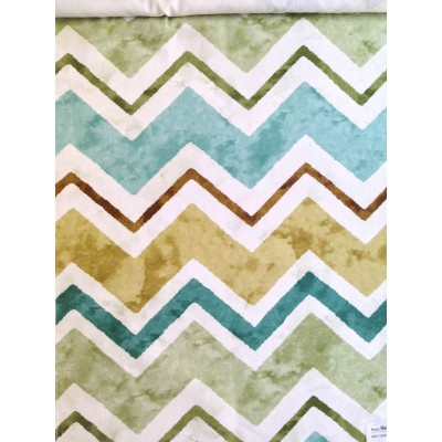 Curtain with colorful zig-zag in turquoise and green