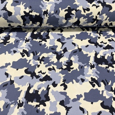 Curtain and upholstery Camouflage in blue