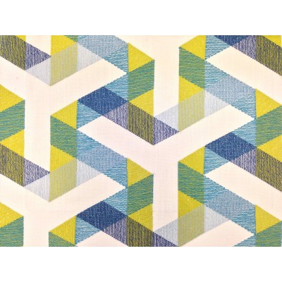 Плат за плътна завеса с бродерия в зелено, синьо и жълто