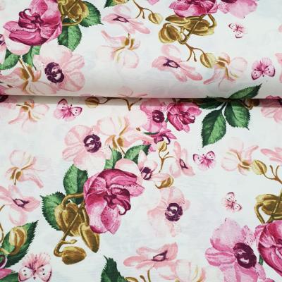 Плат за плътна завеса и дамаска с розови орхидеи