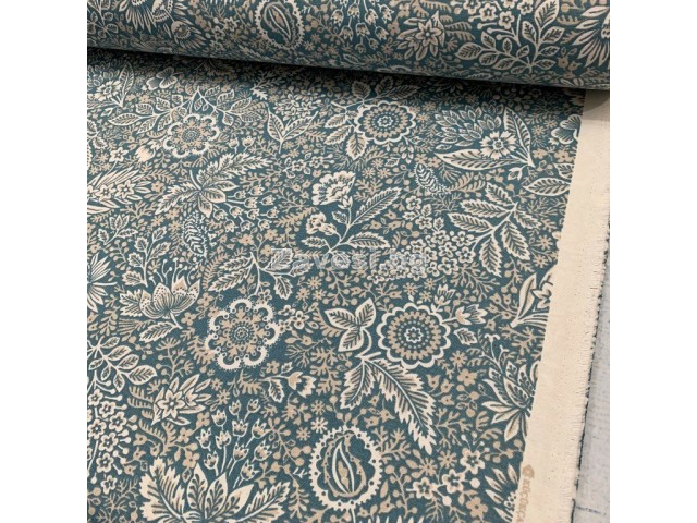 Плат за плътна завеса и дамаска с флорални мотиви на син фон