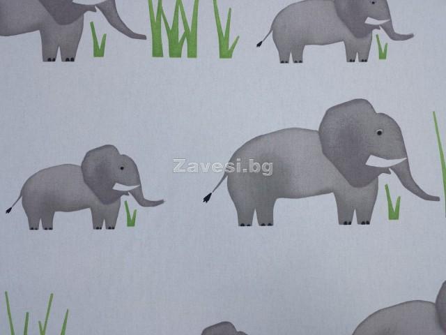 Плат за плътна детска завеса със слонове