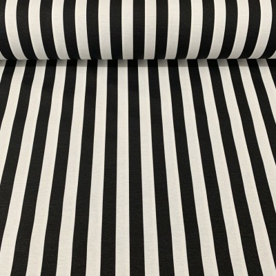 Curtain and upholstery with stripes in black