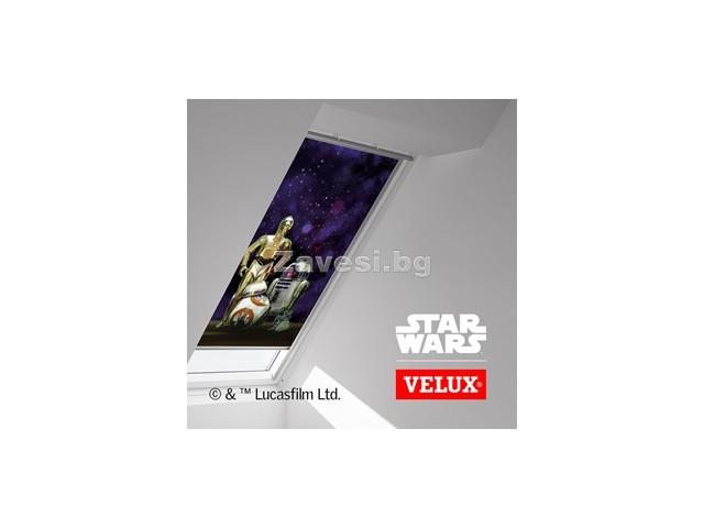 Затъмняващи ролетни щори VELUX DKL с водачи 'Star Wars'
