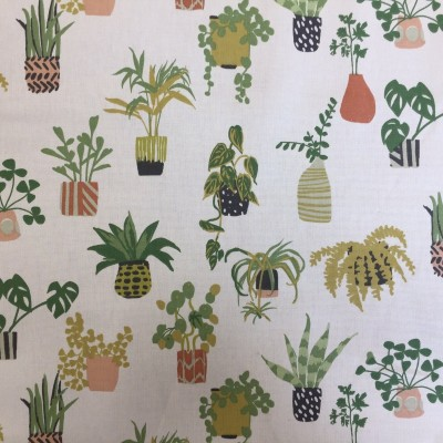 Curtain with print Pot plants