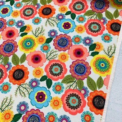 Дамаска с дигитален печат Шарени цветя