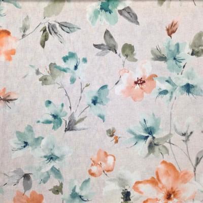 Плат за плътна завеса с цветя в оранжево и зелено
