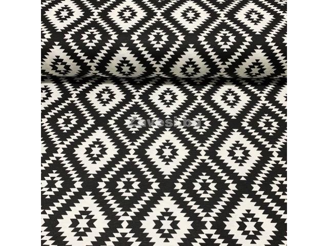 Плат за плътна завеса и дамаска с ромбоиди в черно и бяло