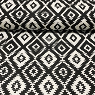 Curtain and upholstery with rhombuses in black and white