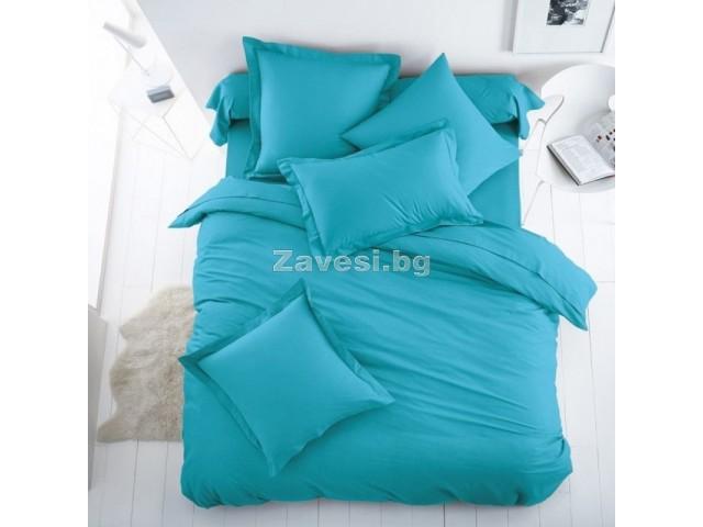 Едноцветен двоен спален комплект ранфорс в светло синьо