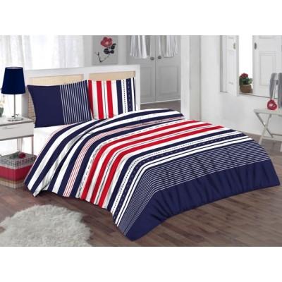 Единичен спален комплект ранфорс с райе в червено, синьо и бяло