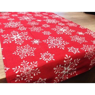 Коледно каре в червено със снежинки 0,55см/1м