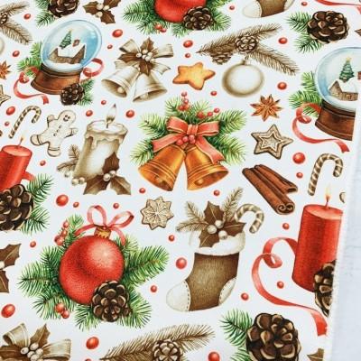 Коледен плат за покривки с десен Украса