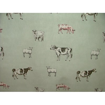 Curtain with animals on light blue background