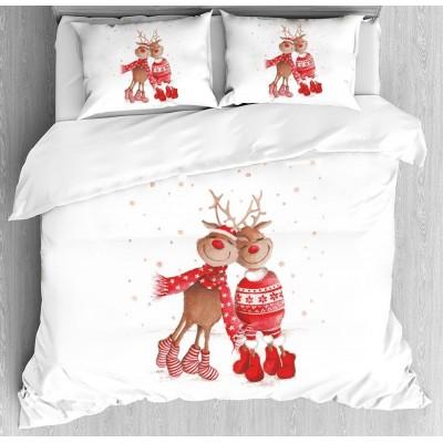 Коледен детски спален комплект Еленчета