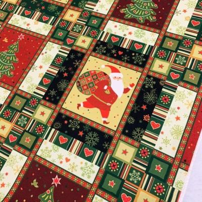 Коледен плат с дядо Коледа в червено и зелено