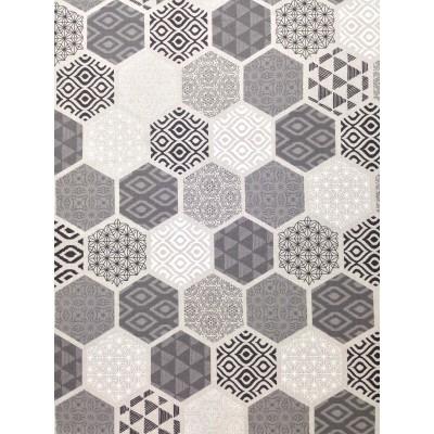 Плат за плътна завеса с геометрични форми в сиво