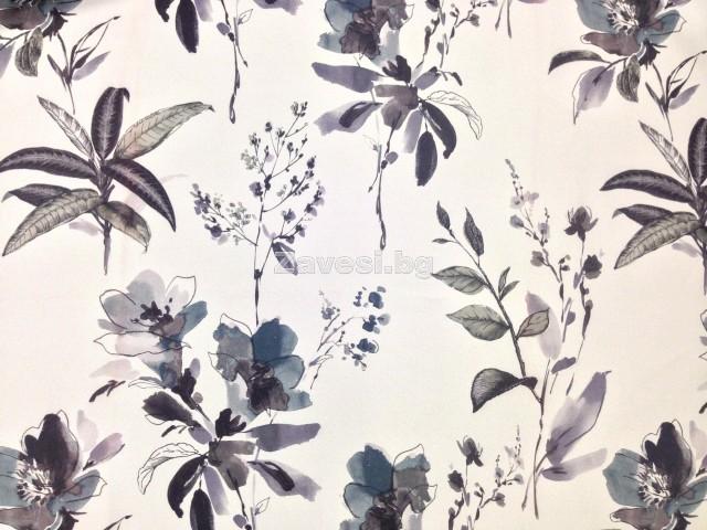 Затъмняващ плат блекаут за плътни завеси на цветя в сиво и лилаво